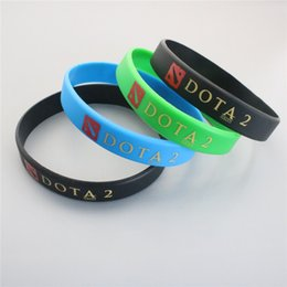Wholesale Wholesale Logo Game - Hot Game DOTA 2 Logo Silicone Wristband Bracelets Green Blue Black Charm Bracelets For Uniisex Hot Sale