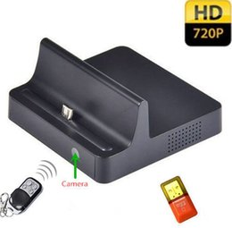 Wholesale Motion Activated Hidden Camera Recorder - Multifunction Desktop Dock Charger 5.0 Mega CMOS Spy Camera Camcorder Motion Activated Hidden Recorder Dock For Samsung HTC Sony