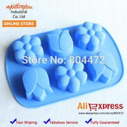 Wholesale Mini Pan Set - Free Shipping Brand New Set of 2 Mini Tulips & Daisy Flower Silicone Cake Pan Food Baking Mold