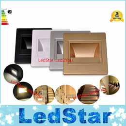 Wholesale Embedded Lamps - Wholesale-Hot Sell new 1.5W LED Corner Wall Lamp 85-265V LED Footlight Embedded LED Stairs Step Night Light LED COB Stair Wall Lighting