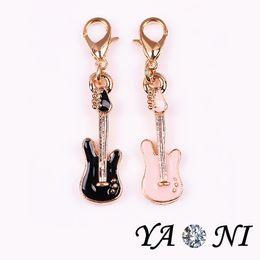 Wholesale Pendant Guitar - Enamel Music Guitar Floating Locket Charm Pendant Alloy Floating Charm Dangle Charm For Jewelry Making Glass Locket