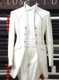 Wholesale Satin Tuxedos For Men - Wholesale-ivory linen men suits notched Lapel tuxedos Wedding suits for men two button groom suits two piece Suit Jacket+Pants+tie