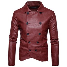 Wholesale White Buckle Jacket - Mens PU Leather Jacket New Double-Breasted Leather Buckle Solid Color Lapel Leather Jackets for Men Long Sleeve Men's Outerwear High Quality