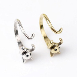 Wholesale Womens Ring Silver - Wholesale Antique Silver Bronze Mouse Ring Womens Girls Retro Burnished Rat Mice Animal Ring Jewelry Wrap Ring Gift