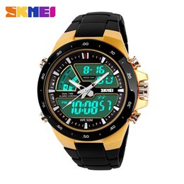 Wholesale Sports Diving Wrist Watch - Men Military Sport Watches 2 Times Zone Backlight Quartz Chronograph Jelly Silicone Swim Dive Wrist Watch SKMEI Brand New 2016