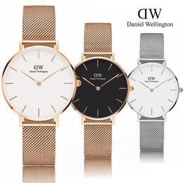 Wholesale girl strips dress - New Fashion Daniel watches Girls Steel strip 32mm women watches Luxury Brand Quartz Watch Clock Relogio Feminino Montre Femme Wrist watches