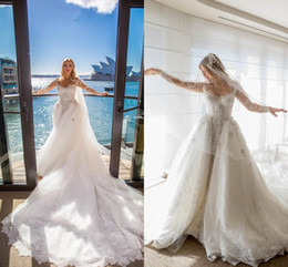 Wholesale Elegant Wedding Dress Train Cathedral - Luxury Dubai Arabic Wedding Dresses 2017 Mermaid V Neck Long Sleeves Backless Cathedral Train Elegant Lace Bridal Gowns Custom Made
