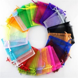 Wholesale Organza 7x9 - Organza Bag Jewelry gift candy Packing Christmas halloween Wedding Voile Bag Multi-Color Gift Pouch Drawstring Pouch 7x9 9x12 11x16 13x18
