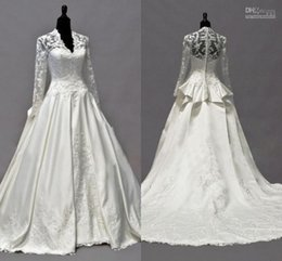 Wholesale Kate Middleton Sleeve Dresses - 2017 Elegant New Style Wedding Dresses V-Neck Appliques Lace Wedding Gowns Long Sleeves Cathedral Train Bridal Gowns By Kate Middleton