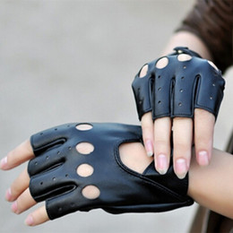 Wholesale Wholesale Half Leather Women Gloves - Women Fingerless Gloves Black Synthetic Leather Half Finger Glove Winter Mittens For Dancing Motorcycle Driving