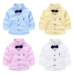 Wholesale Wholesale Cotton Ties For Boys - 2016 Fall Boys clothes wholesale England style gentle bow tie long sleeve shirts Handsome Cotton shirts for preschool boy toddler Kids Tops