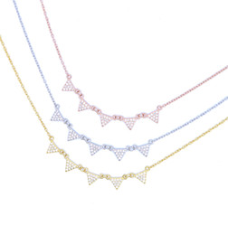 Wholesale Drop Triangle Necklaces - factory wholesale drop shipping top quality micro pave cz triangle link chain delicate dainty chain 925 sterling silver fashion necklace