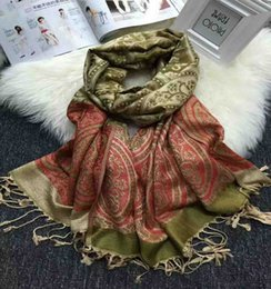 Wholesale Pashmina Jacquard - Soft Cotton Shawl Women Retro Tassel Jacquard Autumn and Winter Fashion Long Scarf With Spike 70cmx190cm 3 Color