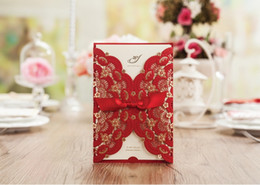 Wholesale Chinese Wedding Red Envelopes - Custom personalized red Wishmade wedding invitation CW5113 with envelopes, seals, personalized printing, for wedding