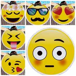 Wholesale Microfiber Blanket Soft - 14 design Emoji Round Large Beach Towel Microfiber with Tassel 150cm Diameter Soft Beach Blanket Towel Shawl Yoga Mat KKA2756