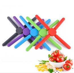 Wholesale Multi Cookers - 2016 New Folding silicone cooker pad Convenient silicone insulation pad Cross placemat for Creative kitchen gadget Mats & Pads JF-182