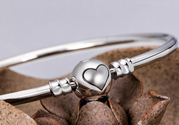 Wholesale Crystal Ball Beads Sets - New Silver Silver Plated Heart Bracelet Women Jewelry For DIY Bead Charm Ball Clasp Clip Fit Pandora Bracelets & Bangles Wholesale Bracelets