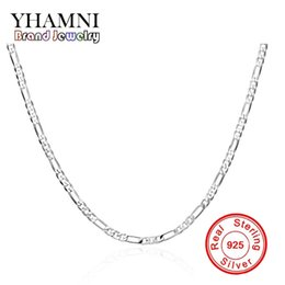 Wholesale Long Sterling Chain - YHAMNI Brand Men&Women 925 Sterling Silver Necklace Fashion Jewelry 16-24in Long 4mm Width Chain Necklace Wholesale N102