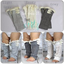 Wholesale Gaiters Children - baby Lace button down Leg Warmers Ballet knitted booty Gaiters Boot Cuffs Stocking children Socks Boot Covers Leggings Tight B934
