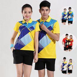 Camisa de TableTennis + hombres cortos, mujeres Jersey, camisa Pong, ropa de tenis de mesa, traje de bádminton, ropa deportiva, logotipo impreso desde fabricantes