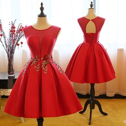 Wholesale Cheap Short Red Quinceanera Dresses - Cheap Hot Sale Knee Length Satin Homecoming Dresses Embroidery Waist Sheer Neckline Prom Dresses Key Hole Ball Gown Short Dresses Lace Up