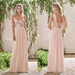 Wholesale Sparkly White Chiffon Wedding Dresses - Sparkly Sequined Bridesmaid Dresses Cheap Long A-Line Spaghetti Straps Pleated Wedding Guest Dress Floor Length Chiffon Party Gowns