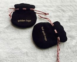 Wholesale Charms Bags Black - jewelry pouches charm bags beads bag high quality new designed velvet pouch black velvet bag with brand logo 7x8.5CM