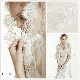 Wholesale Pretty Bridal Veils - Hot Sale Bridal Veil Lace Applique Bridal Veils White Ivory Veil Pretty Cheap One Layer Wedding Veil Elegant Veils