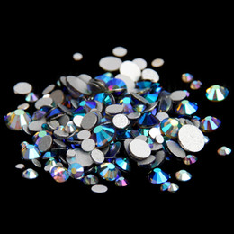 Wholesale Diamonds Hotfix - Black Diamonds AB ss12-ss30 Non Hotfix Crystal Rhinestones Round Facets Flatback Glue On Strass Diamonds Glass Chatons DIY Jewelry Making