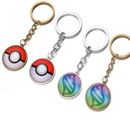 Wholesale Football Birthday Decorations - Poke pokeballs keychain 2016 New Poke mon pikachu puppets car key chain ring Pendantornament birthday party decoration