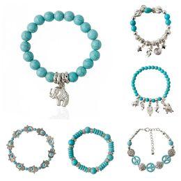 Wholesale Vintage Indian Bead Bracelet - Charm Bracelets Vintage Charms Turquoise Beads Owl Elephant Bird Pendant Bracelet Fashion Women Fine JewelryTurquoise Bead Bracelet