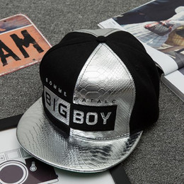 Wholesale Leather Snapback Design - Good Quality New Brand Design Hat BIG boy Gold Silver Leather Hip hop Snapback For Men Women Luxury Fitted Baseball Cap