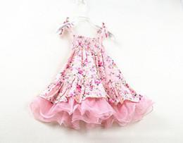 Wholesale Hottest Mini Skirt Girls - Hot Summer Baby Girls Vintage Flowers Tutu Party Dress Kids Floral Dresses Tulle Skirt Lace Strap Dress Children Princess Cotton Dress 1714