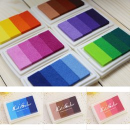 Wholesale Ink Pad Set Craft - Wholesale-New Multi Color Oil Gradient DIY Stamp Set Ink Pad Inkpad Craft Paper Wood Fabric 6 Scrapbooking Office School Supplies