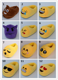 "Wholesale Wholesale Soft Slippers - Multi style Emoji Soft Warm Indoor Slipper 11"" 28.5cm Emoji plush anti-slip indoor shoes cartoon slippers shoes"