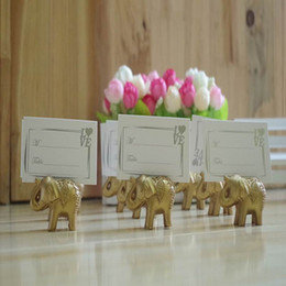 Wholesale Elephant Wedding Party Favors - Free DHL Shipping Lucky Golden Elephant Place Card Holders Wedding Decoration Favors Name Card Holder