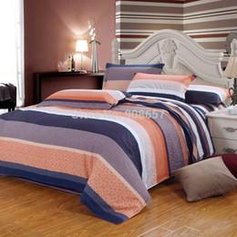 Wholesale Striped Full Flat Sheet - girls cheaper cotton fabric bedding set 4-5pc duvet quilt cover flat sheet pillow sham full queen coral medium purple striped