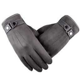 Wholesale Winter Leather Cycling Gloves - Mens Suede Leather Touchscreen Soft Thick Fleece Liner Versatile Cold Weather Gloves Winter Warm Outdoor Gloves Driving Cycling Work