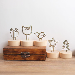 Wholesale Wire Picture Holder Clip - wooden stand metal wire desk card note animal fruit design picture memo photo clip holder,table wedding party place favor personalized gift