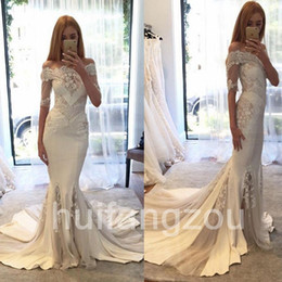 Wholesale Long Sleeve Strip Dress - Bateau 1 2 Long Sleeves Mermaid Lace Appliques Lace Strips Sweep Train Sexy Wedding Gown Wedding Dresses