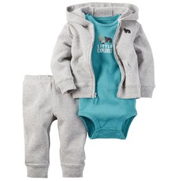 Wholesale Hooded Bear Jumpsuit - little explorer bear boys clothing sets bodysuits children One-Pieces baby jumpsuit rompers + child Hooded Jacket+ kids Joggers trousers