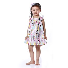 Wholesale Christmas Tutu Patterns - Kids Summer Beach Dresses Ruffle Sleeve Girls Dresses Smocked Girls Clothing Feather Printed Pattern Peasant Dresses Girls Clothes
