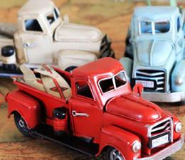 Wholesale Car Craft Models - new zakka crafts handmade red blue classic retro car truck model iron metal coffee bar home decor