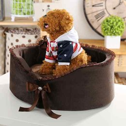 Wholesale Dog Beds Suede - 2017 New style lovely Free shipping luxurious Suede fabric dog bed pet house dog house dog bed pet bed