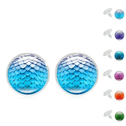 Wholesale Red Dragon Flower - New Silver Plated Mermaid Fish Scale Colored Dragon Egg Scales Time Gemstone Stud Earrings For Women Lady Jewelry