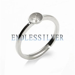 Wholesale Wholesale Base Plates - Simple Ring Settings Blank Base Band 925 Sterling Silver DIY Jewellery Finding Mountings for Pearl Party