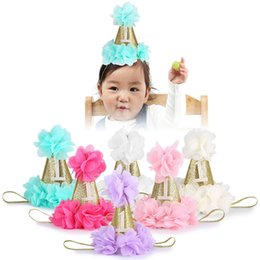 Wholesale Happy Cone - Princess Kids Baby Happy Birthday Princess Headband Crown Caps Party Hats Cone Shape Hairband Festival Hair Accessories Gift