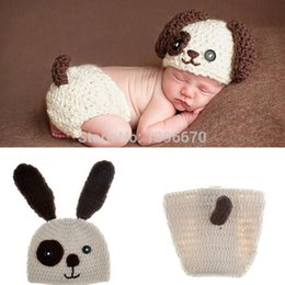 Wholesale Crochet Baby Diaper Cover - Baby Infant Knitted Puppy Dog Costume Set Newborn Photo Props Crochet Puppy Dog Hat and Diaper Cover Outfit animal backpack