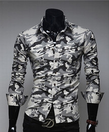 Wholesale Dress Wash - 2016 camouflage dress shirt fall and winter trade cotton washed Features casual men slim fit long-sleeved shirts