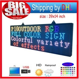 Wholesale Display 14 Led - free shipping FULL COLOR RGB Programmable Led Signs  P10 39 by 14 inch Outdoor led Scrolling Message Display
